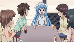 【侵略!?イカ娘(第2期)第1話】イカ娘と紗倉清美とバドミントン部の仲間たち